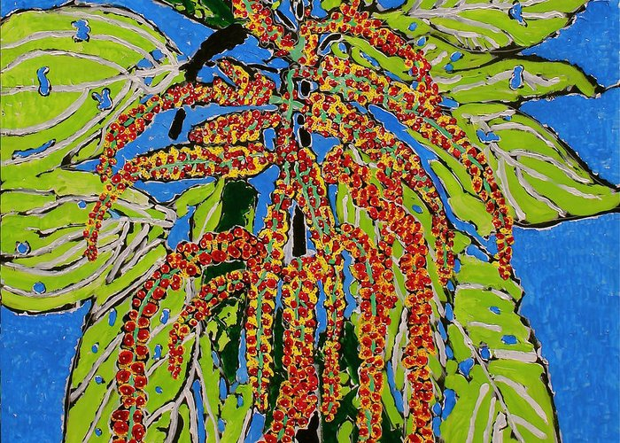 Landscape Greeting Card featuring the painting Amaranthus Sold by Ray Petersen