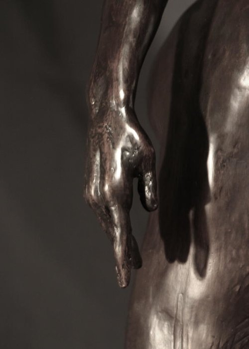 Bronze Sculpture Greeting Card featuring the sculpture Amazing Grace Close Up View by Dan Earle