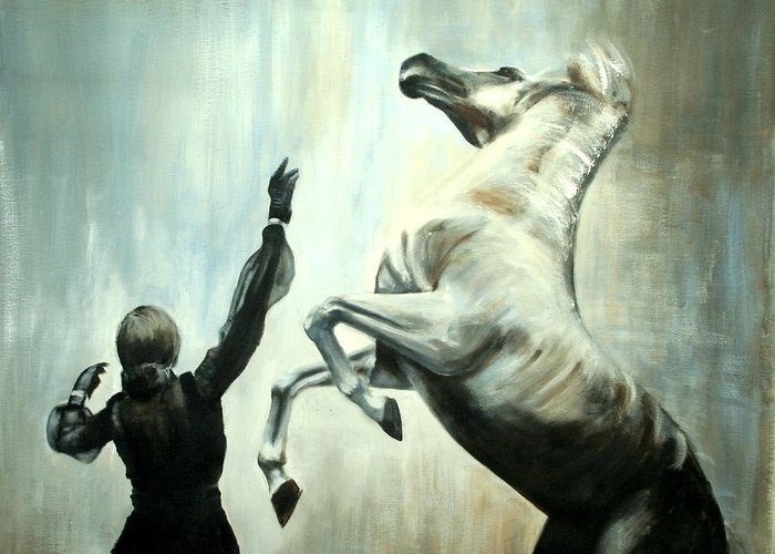 Horses Greeting Card featuring the painting Amazing Grace by Fiona Jack
