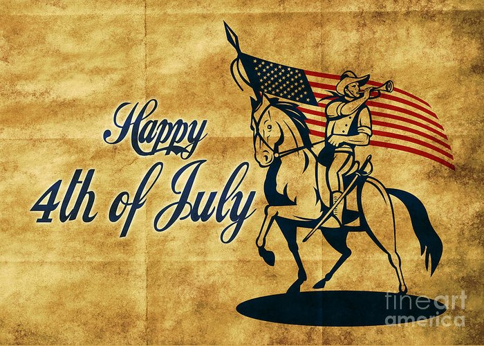 American Greeting Card featuring the digital art American Cavalry Soldier by Aloysius Patrimonio