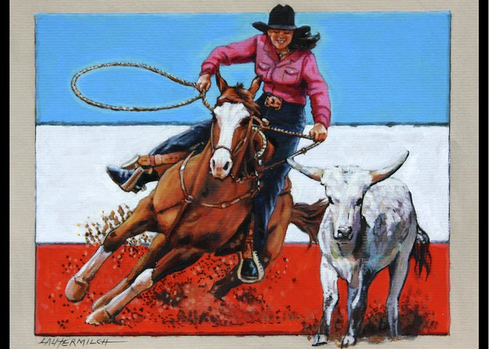 Barrel Riding Greeting Card featuring the painting American Cowgirl by John Lautermilch