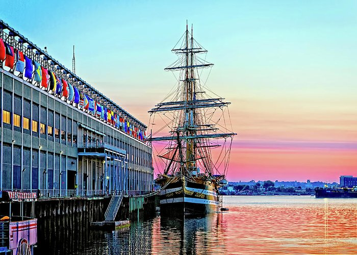 Boston Ma Greeting Card featuring the photograph Amerigo Vespucci Tall Ship by Larry Richardson