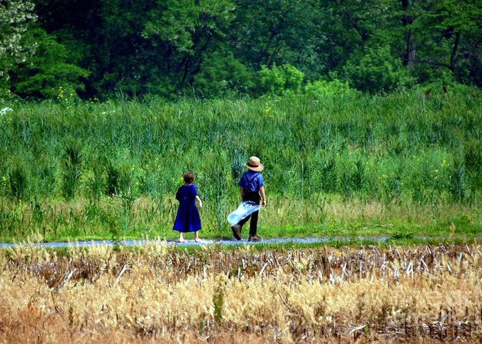 Amish Greeting Card featuring the photograph Amish Brother And Sister by Randy Matthews