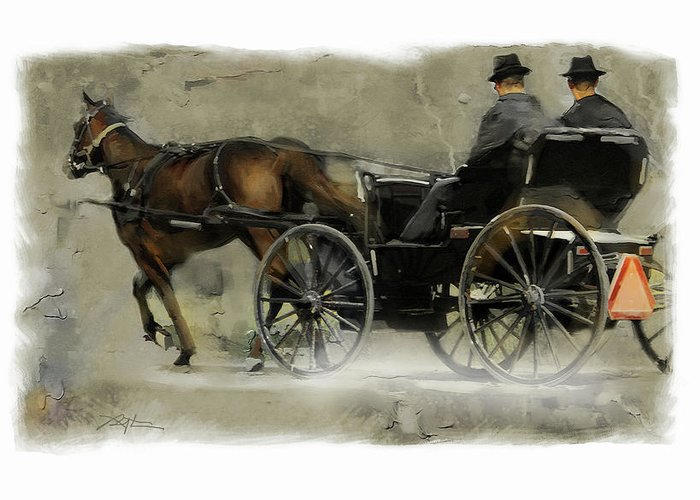 Mennonite Greeting Card featuring the painting Amish Country by Bob Salo