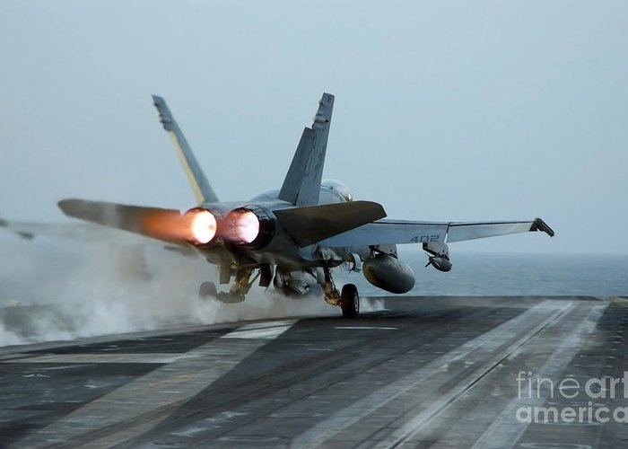 Color Image Greeting Card featuring the photograph An Fa-18 Hornet Launches by Stocktrek Images