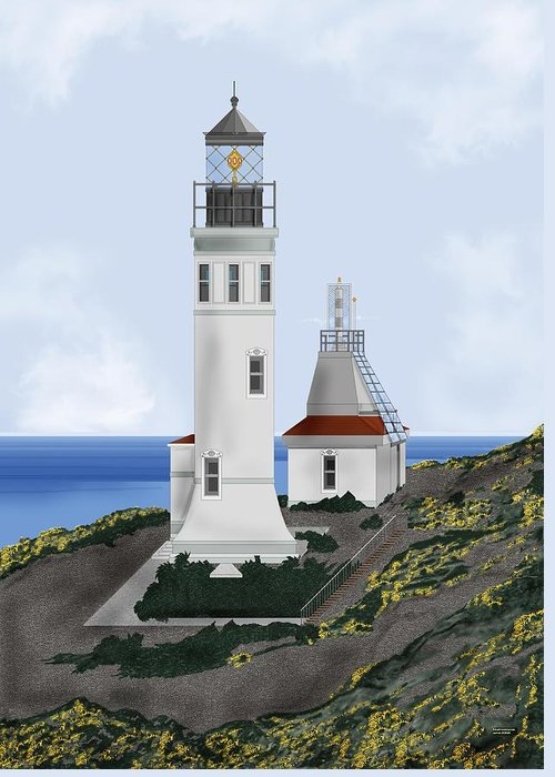 Lighthouse Greeting Card featuring the painting Anacapa Lighthouse California by Anne Norskog
