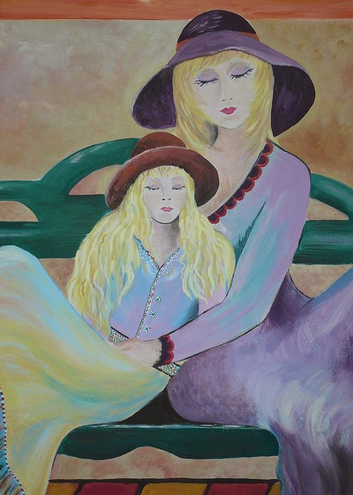 Mother/daughter Greeting Card featuring the painting Angel Face by Kris Crollard