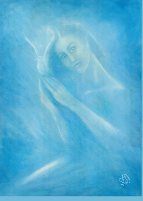 Love Greeting Card featuring the painting Angel With Dove by Elizabeth Silk