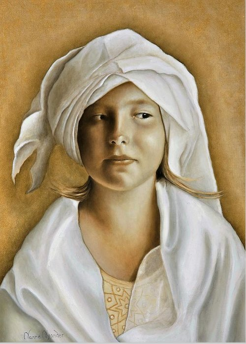 Portrait Greeting Card featuring the painting Angelinn by Nanne Nyander
