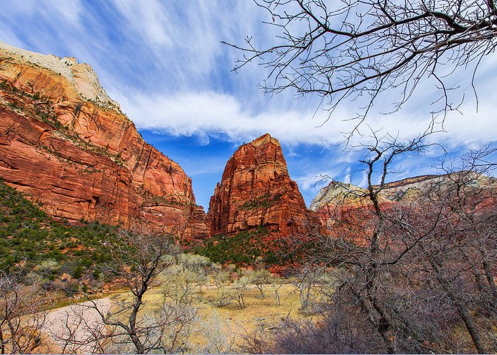 Angels Landing Greeting Card featuring the photograph Angels Landing by Chad Dutson