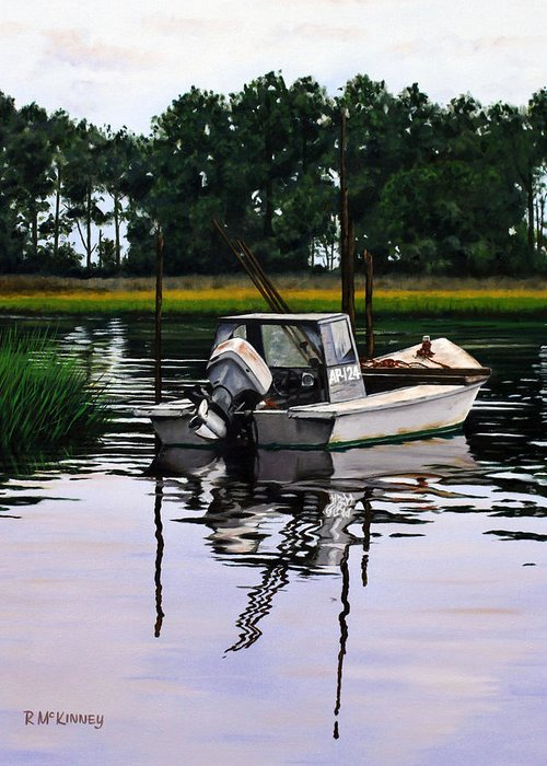 Boat Greeting Card featuring the painting Apalach by Rick McKinney