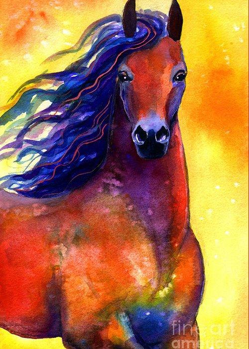 Horse Greeting Card featuring the painting Arabian Horse 1 Painting by Svetlana Novikova