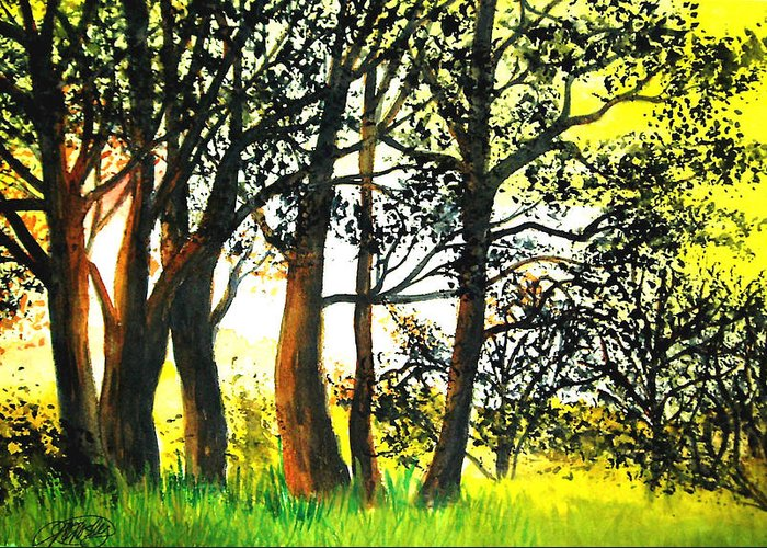 Landscape Greeting Card featuring the painting Arbutus by Vi Mosley