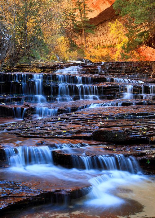 Zion Greeting Card featuring the photograph Archangel Falls In Zion by Pierre Leclerc Photography