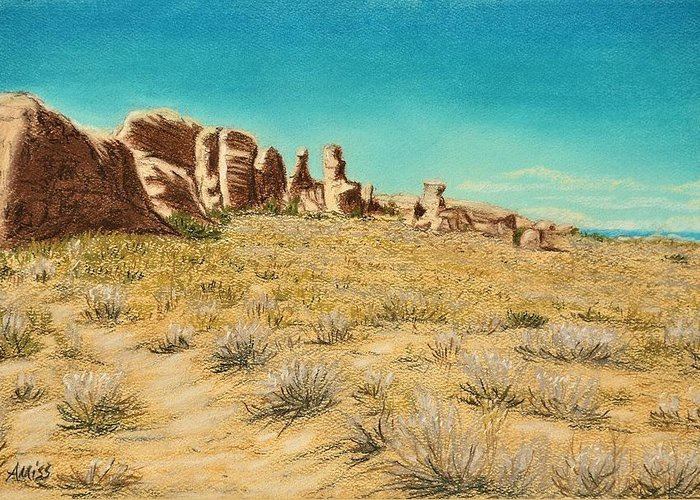 Landscapes Greeting Card featuring the pastel Arches 2 by Jan Amiss