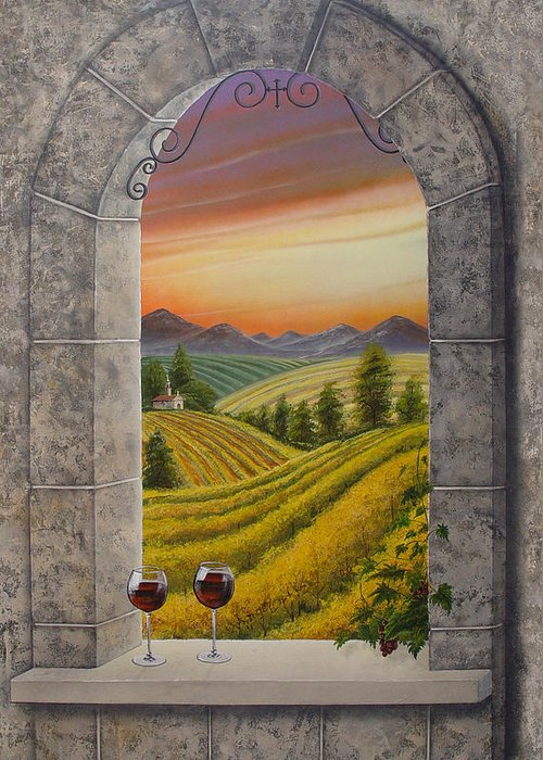 Landscape Greeting Card featuring the painting Arco Vinal by Angel Ortiz