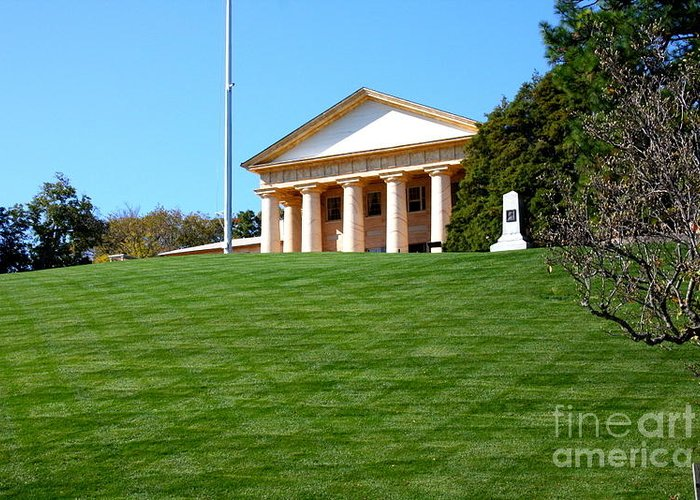 This Is A Photo Of The Manicure Lawn In Front Of Arlington House Greeting Card featuring the photograph Arlington House by William Rogers