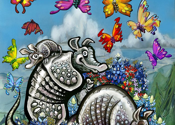 Armadillos Greeting Card featuring the digital art Armadillos Bluebonnets And Butterflies by Kevin Middleton