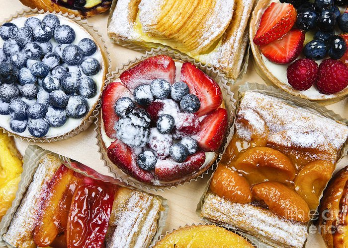 Pastries Greeting Card featuring the photograph Assorted Tarts And Pastries by Elena Elisseeva