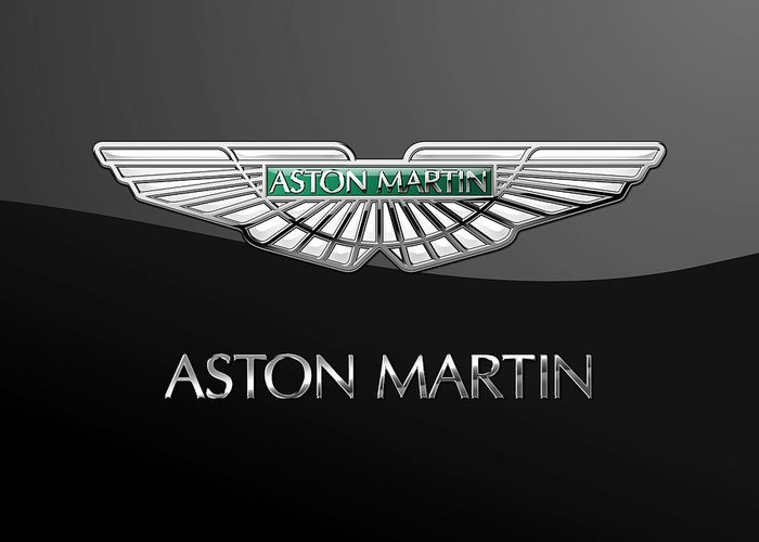 'wheels Of Fortune� Collection By Serge Averbukh Greeting Card featuring the photograph Aston Martin 3 D Badge on Black by Serge Averbukh