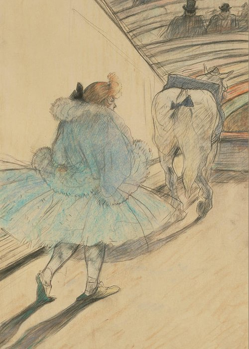 Henri De Toulouse-lautrec Greeting Card featuring the drawing At The Circus Entering The Ring by Henri de Toulouse-Lautrec