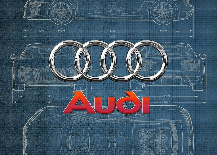 �wheels Of Fortune� Collection By Serge Averbukh Greeting Card featuring the photograph Audi 3 D Badge over 2016 Audi R 8 Blueprint by Serge Averbukh
