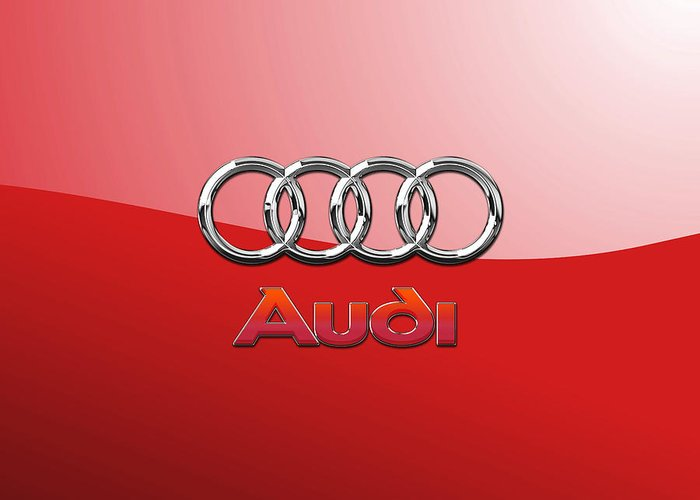 Wheels Of Fortune By Serge Averbukh Greeting Card featuring the photograph Audi - 3D Badge on Red by Serge Averbukh