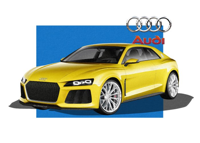 �audi� Collection By Serge Averbukh Greeting Card featuring the photograph Audi Sport Quattro Concept With 3 D Badge by Serge Averbukh