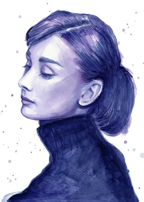Watercolor Greeting Card featuring the painting Audrey Hepburn Portrait by Olga Shvartsur