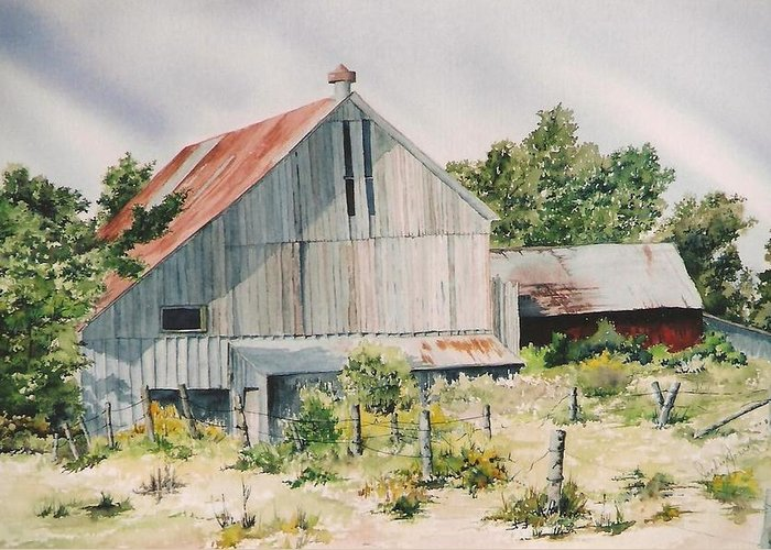 Barn Greeting Card featuring the painting August 2nd by Jackie Mueller-Jones
