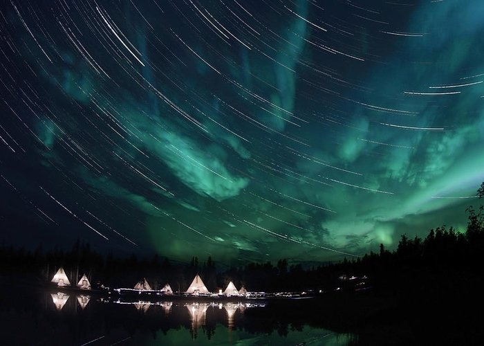 Yellowknife Greeting Card featuring the photograph Aurora And Star Trails by Yuichi Takasaka