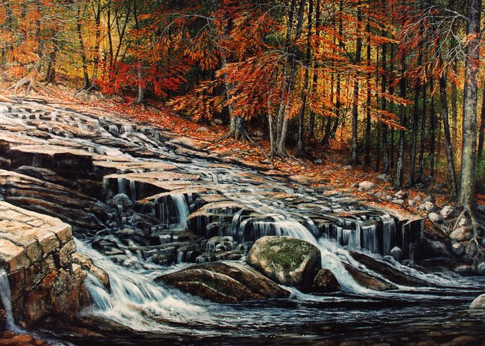 Landscape Greeting Card featuring the painting Autumn Cascade by Frank Wilson