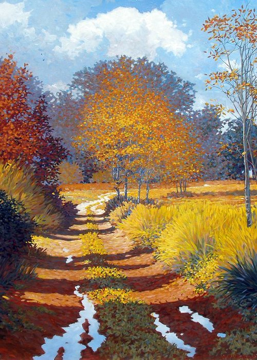 Landscape Greeting Card featuring the painting Autumn by Kevin Lawrence Leveque