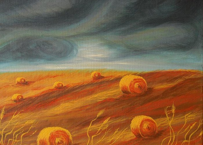 Landscape Greeting Card featuring the painting Autumn Storm by Jana Caissie