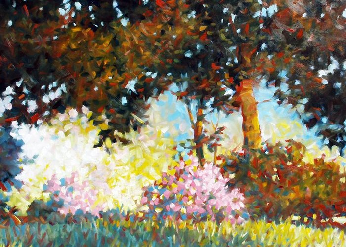 Landscape Greeting Card featuring the painting Azaleas by Kevin Lawrence Leveque