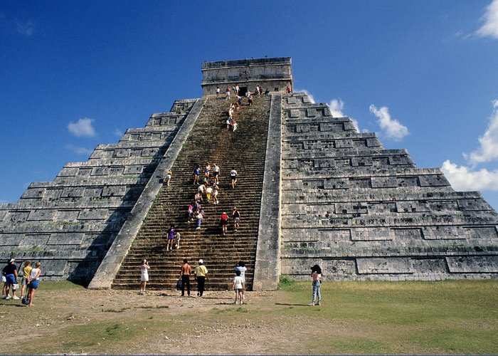 Aztec Pyramid Greeting Card featuring the photograph Aztec Pyramid In Mexico by Carl Purcell