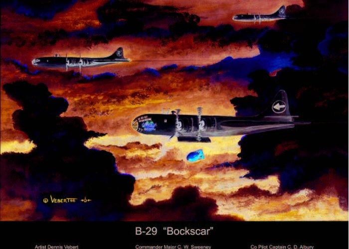 B-29 Bomber Greeting Card featuring the painting B-29 Bockscar by Dennis Vebert