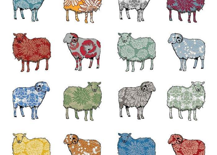 Sheep Digital Art Greeting Cards