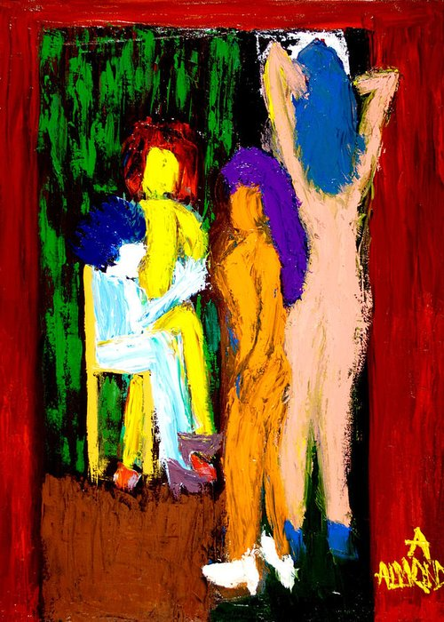Women Greeting Card featuring the painting Backstage Drama by Albert Almondia