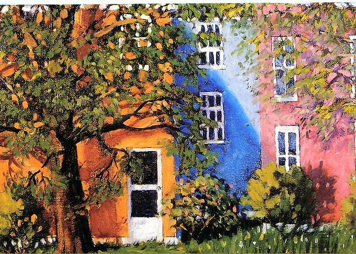 Scenic Greeting Card featuring the painting Backyard by Jonathan Carter