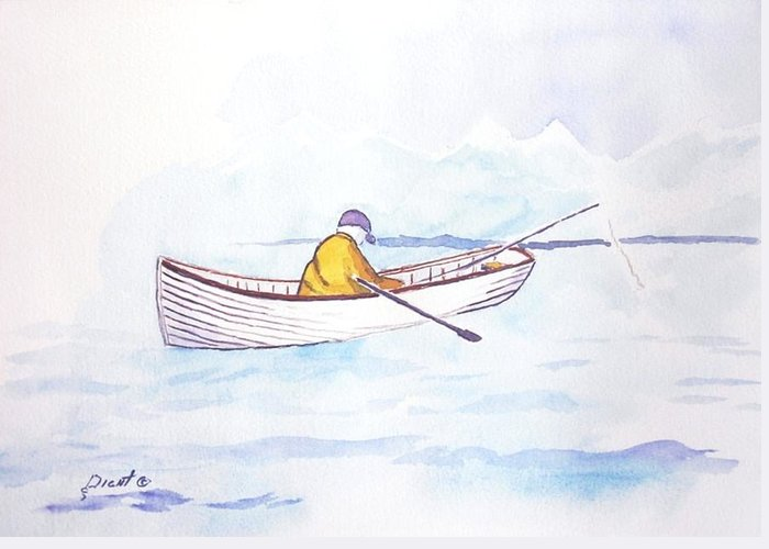 Seascape Greeting Card featuring the painting Baiting Up by Buster Dight