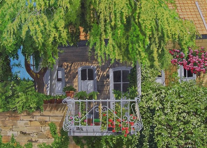 Rural Greeting Card featuring the mixed media Balcony With Flowers by Constance Drescher