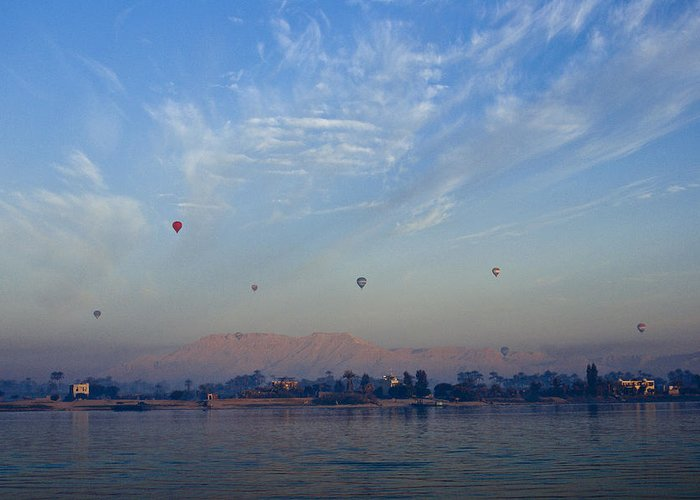 Egypt Greeting Card featuring the photograph Ballooning Over The Nile by Michele Burgess