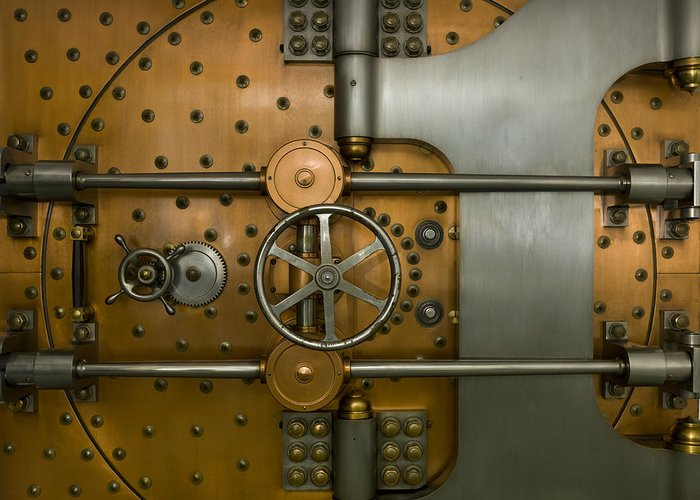 Architectural Greeting Card featuring the photograph Bank Vault Door Exterior by Adam Crowley