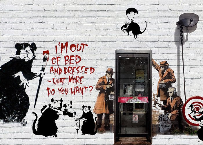 �urban Graffiti� Collection By Serge Averbukh Greeting Card featuring the photograph Banksy - The Tribute - Rats by Serge Averbukh