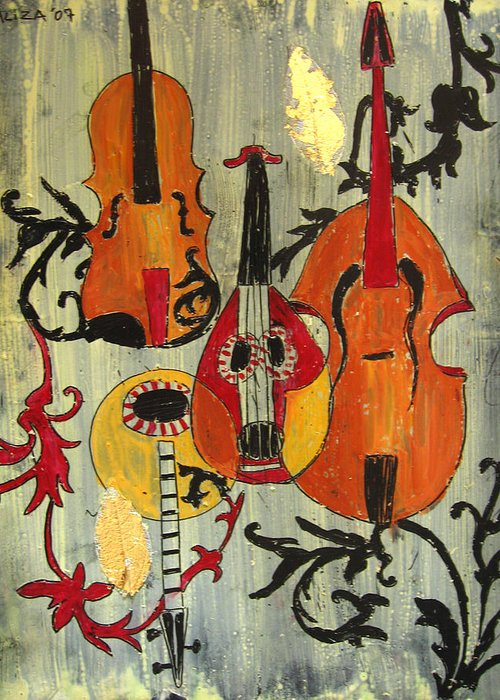 Music Greeting Card featuring the painting Baroque 1 by Aliza Souleyeva-Alexander