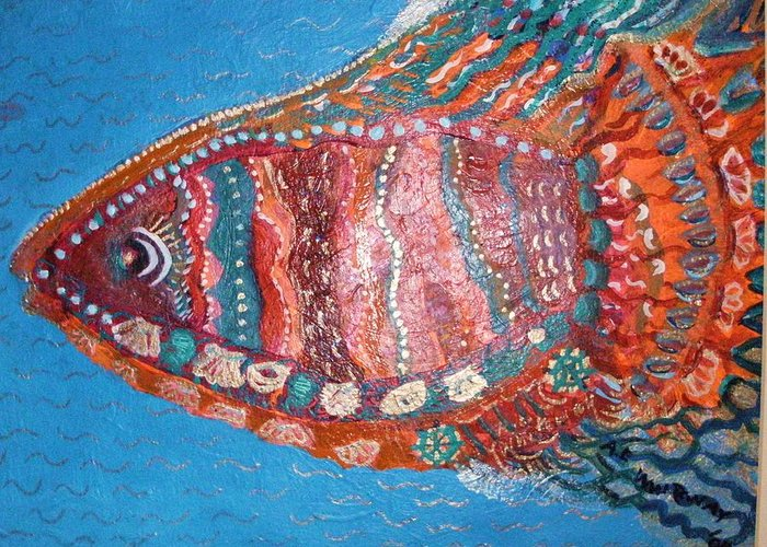 Fish Greeting Card featuring the mixed media Barracuda Lite by Anne-Elizabeth Whiteway