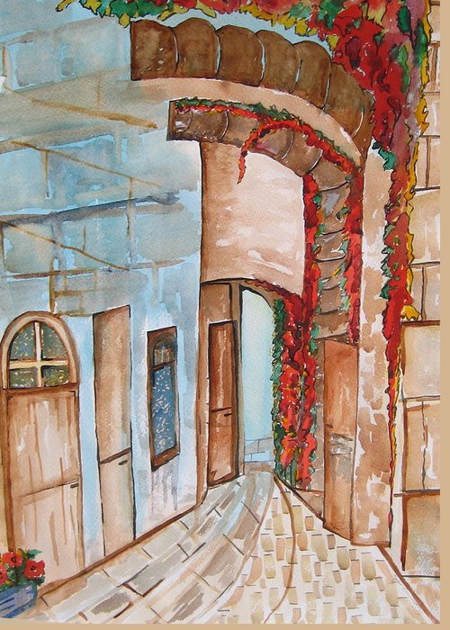 Greeting Card featuring the painting Barrio by Roger Cummiskey