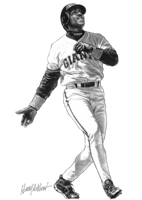 Barry Bonds Greeting Card featuring the drawing Barry Bonds by Harry West