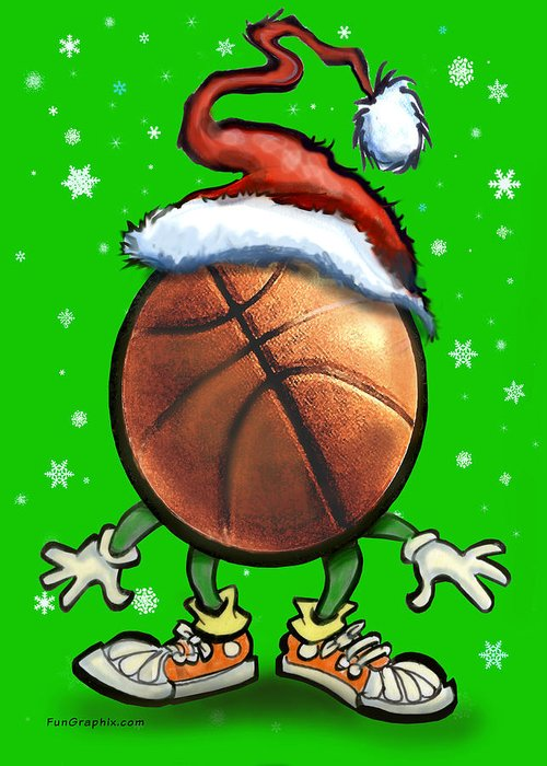 Basketball Greeting Card featuring the digital art Basketball Christmas by Kevin Middleton